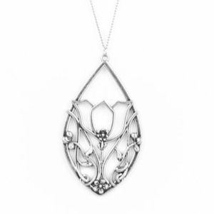 Long Silver Necklace Set